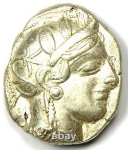 Antique Athènes Grèce Athena Owl Tetradrachm Coin (454-404 Av. J.-c.) État De L'ua