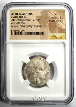Antique Athènes Grèce Athena Owl Tetradrachm Silver Coin (440-404 Av. J.-c.) Ngc Vf