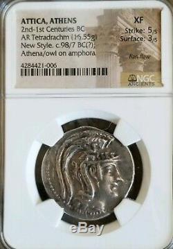 Athena, Attique New Style Tetradrachm Ngc Xf 5/3 Ancient Silver Coin Satyre