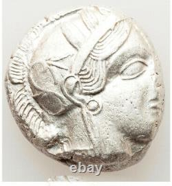 Athènes Anciens Grèce Athena Owl Tetradrachm Ar Silver Coin 440-404 Bc Ch Vf