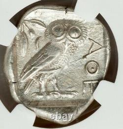 Athènes Antique Grèce Athena Owl Tetradrachm Silver Coin 440-404 Bc Ngc Au 5/5