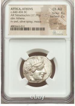 Athènes Antique Grèce Athena Owl Tetradrachm Silver Coin 440-404 Bc Ngc Ch Au