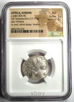 Athènes Antique Grèce Athena Owl Tetradrahm Pièce D'argent (440-404 Av. J.-c.) Ngc Au