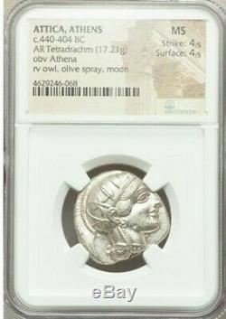 Athènes Athena Owl Attica 440-404 Bc Ar (argent) Tetradrachm Ngc Ms Grade 4/5 4/5