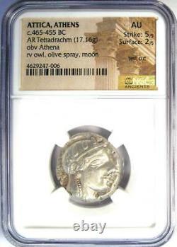 Athènes Athena Owl Tetradrachm Coin 465-455 Bc Ngc Au Test Cut Early Issue