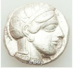 Athènes Attica 440-404 Bc Ar Tétradrachme Obv Athena Rev Owl Choix Xf No Cut Essai