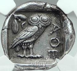 Athènes Attique 440bc Argent Grec Tétradrachme Athena Owl Ngc Certifié Choix Xf