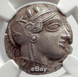 Athenes Grèce Antique Argent 440bc Grecque Tétradrachme Coin Athéna Chouette Ngc I63866