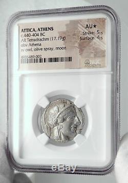 Athenes Grèce Antique Argent 440bc Grecque Tétradrachme Coin Athéna Chouette Ngc I80689