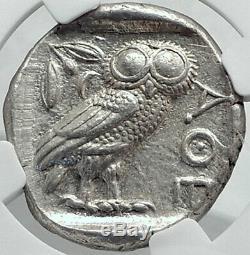Athenes Grèce Antique Argent 440bc Grecque Tétradrachme Coin Athéna Chouette Ngc I80699