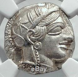Athenes Grèce Antique Argent 440bc Grecque Tétradrachme Coin Athéna Chouette Ngc I80779