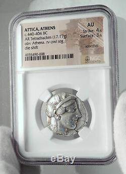 Athenes Grèce Antique Argent 440bc Grecque Tétradrachme Coin Athéna Chouette Ngc I80948