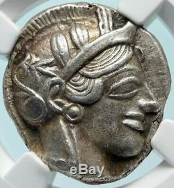 Athenes Grèce Antique Argent 440bc Grecque Tétradrachme Coin Athéna Chouette Ngc I83830