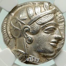 Athenes Grèce Antique Argent 440bc Grecque Tétradrachme Coin Athéna Chouette Ngc I84880