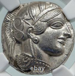 Athenes Grèce Antique Argent 440bc Grecque Tétradrachme Coin Athéna Chouette Ngc I86403