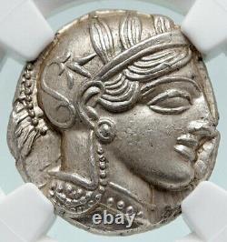Athenes Grèce Antique Argent 440bc Grecque Tétradrachme Coin Athéna Chouette Ngc I86560