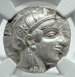 Athenes Grèce Antique Argent 455bc Grecque Tétradrachme Coin Athéna Chouette Ngc I77669