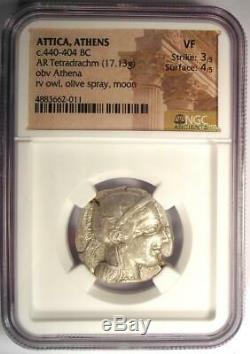 Athènes Grèce Antique Athéna Chouette Tetradrachm Coin (440-404 Bc) Ngc Vf
