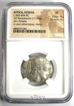Athènes Grèce Antique Athéna Chouette Tetradrachm Coin (440-404 Bc) Xf Ngc (ef)