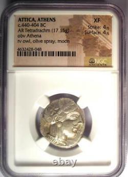 Athènes Grèce Antique Athéna Chouette Tetradrachm Pièce D'argent (440-404 Bc) Xf Ngc
