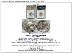 Athenes Grèce Argent Grec Tetradrachm Coin Athena Full Crest Owl Ngc I84882