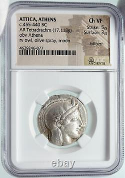Athenes Grèce Argent Grec Tetradrachm Coin Athena Full Crest Owl Ngc I85677