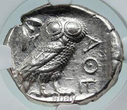 Athenes Grèce Argent Grec Tétradrachme Monnaie Athena Complet Crest Owl Ngc I86409