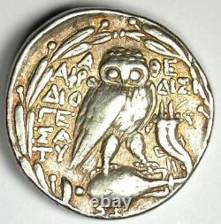 Athènes Grèce Athena Owl Tetradrachm Coin (120 Av. J.-c., Nouveau Style) Superbe Vf