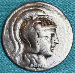 Athènes Grèce Athena Owl Tetradrachm Coin 165-42 Bc Style Xf Dioscures