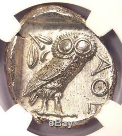 Athènes Grèce Athena Owl Tetradrachm Coin (440-404 Bc) Ms Ngc Choice (unc)