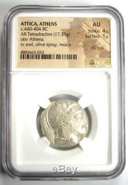 Athènes Grèce Athena Owl Tetradrachm Coin (440-404 Bc) Ngc Au Avec Des Coupes D'essai
