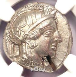 = Athènes Grèce Athena Owl Tetradrachm Coin (440-404 Bc) Ngc Choix Ua, Cut Test