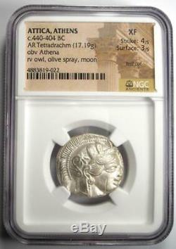 Athènes Grèce Athena Owl Tetradrachm Coin (440-404 Bc) Ngc Xf, Cut Test