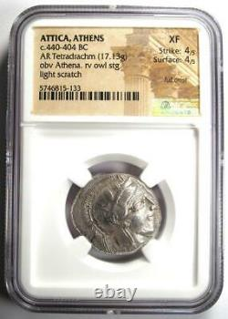 Athènes Grèce Athena Owl Tetradrachm Coin (440-404 Bc) Xf Ngc Avec Full Crest
