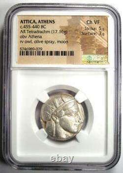 Athènes Grèce Athena Owl Tetradrachm Coin (455-440 Av. J.-c.) Certifié Ngc Choice Vf