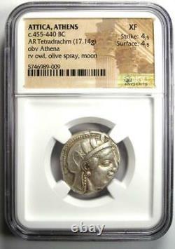 Athènes Grèce Athena Owl Tetradrachm Coin (455-440 Av. J.-c.) Ngc Xf Early Issue