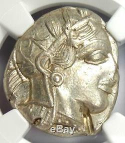Athènes Grèce Athena Owl Tetradrachm Silver Coin (440-404 Bc) Ngc Au, Cut Test