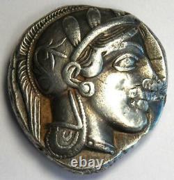 Athènes Grèce Athena Owl Tetradrachm Silver Coin (454-404 Av. J.-c.) Vf (réparé)