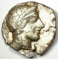 Athènes Grèce Athena Owl Tetradrachm Silver Coin (454-404 Bc) Condition Au