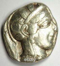 Athènes Grèce Athena Owl Tetradrachm Silver Coin (454-404 Bc) Vf Condition