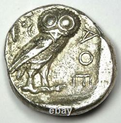 Athènes Grèce Athéna Owl Tetradrachme Argent Coin (454-404 Av. J.-c.) Vf / Xf
