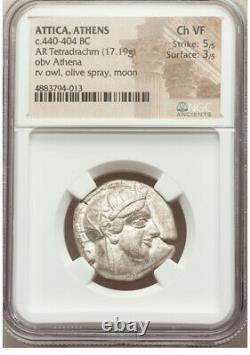 Athènes Grèce Athena Owl Tetradrahm Pièce D'argent 440-04 Bc Ngc Choix Vf 3/5 5/5