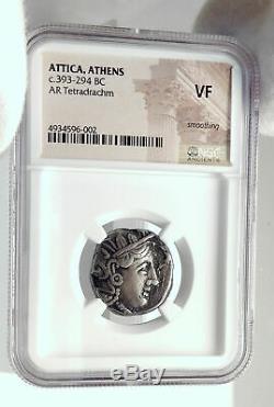 Athenes Grèce Attique 393bc Athènes Tétradrachme D'argent Grec Coin Owl Ngc I77385
