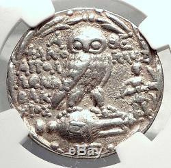 Athènes Grèce Authentique Pièce De Tétradrachme D'argent Grec Argent Avec Owl Ngc I73330