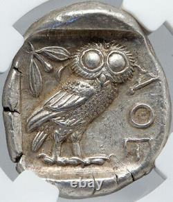 Athens Grèce 440bc Argent Ancien Grec Tetradrachm Pièce Athena Owl Ngc I87713