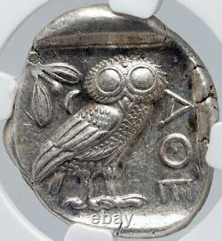 Athens Grèce 440bc Argent Ancien Grec Tetradrachm Pièce Athena Owl Ngc I87714