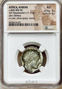Attica Athènes Grec Owl Argent Tetradrachme Coin (440-404 Av. J.-c.) Ngc Au 4/5 4/5