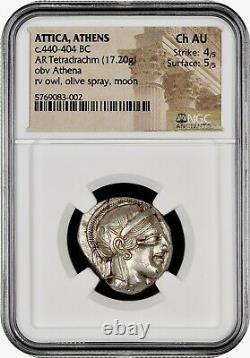 Attica Athènes Grec Owl Argent Tetradrachme Coin (440-404 Av. J.-c.) Ngc Ch Au 4/5 5/5