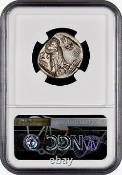 Attica Athènes Grec Owl Silver Ar Tetradrahm Pièce (440-404 Av. J.-c.) Ngc Ch Au 4+5