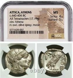 Attica Athens Greek Owl Silver Tetradrachm Coin (440-404 Av. J.-c.) Mbac Ms 4/5 5/5